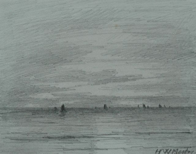 Hendrik Willem Mesdag | The sea near Scheveningen, pencil on paper, 8.7 x 11.2 cm, signed l.r. and on the reverse and dated 'Scheveningen 9 July 1892' on the reverse