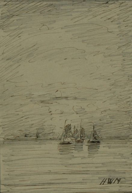 Hendrik Willem Mesdag | Ships at sea, pencil, pen in black ink on paper, 13.7 x 9.9 cm, signed l.r. with initials