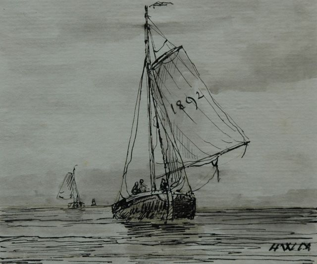 Hendrik Willem Mesdag | A barge returning from sea, pen and brush in ink on paper, 9.6 x 11.5 cm, signed l.r. with initials and dated 1892