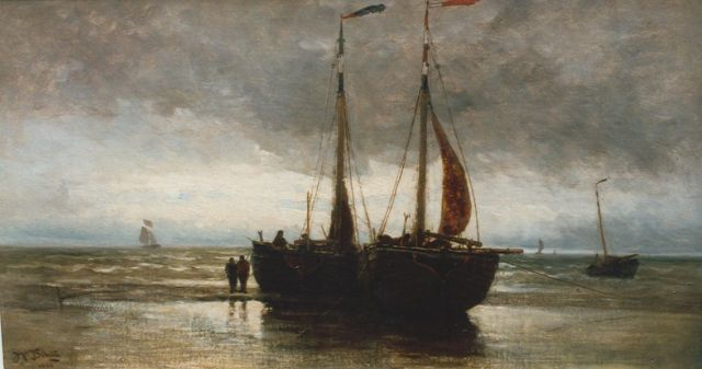 Willem Johannes Schütz | Vessels on the beach, oil on canvas, 45.5 x 82.5 cm, signed l.l.