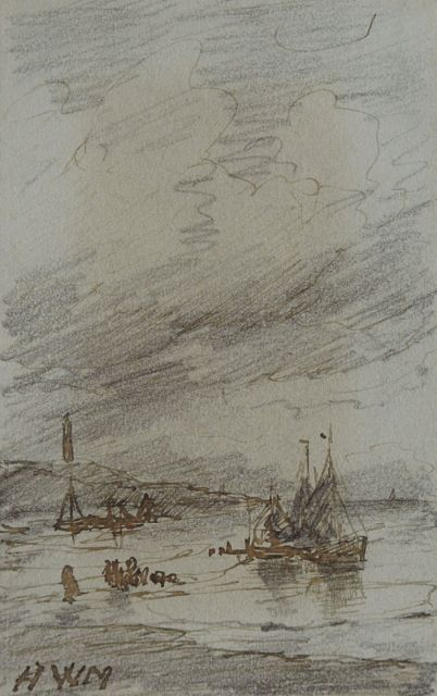 Hendrik Willem Mesdag | Fishing boats near the Scheveningen lighthouse, pencil, pen in brown ink on paper, 10.1 x 6.4 cm, signed l.l. with initials