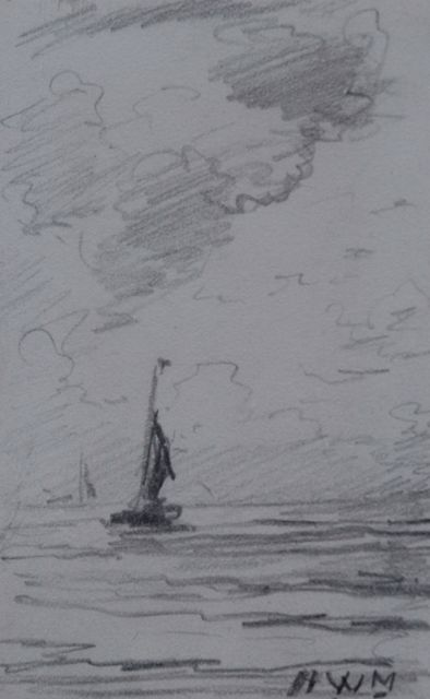 Hendrik Willem Mesdag | 'Bomschuit' at sea, pencil on paper, 10.1 x 6.4 cm, signed l.r. with initials
