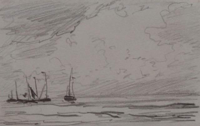 Hendrik Willem Mesdag | Barges sailing out, pencil on paper, 6.4 x 10.1 cm