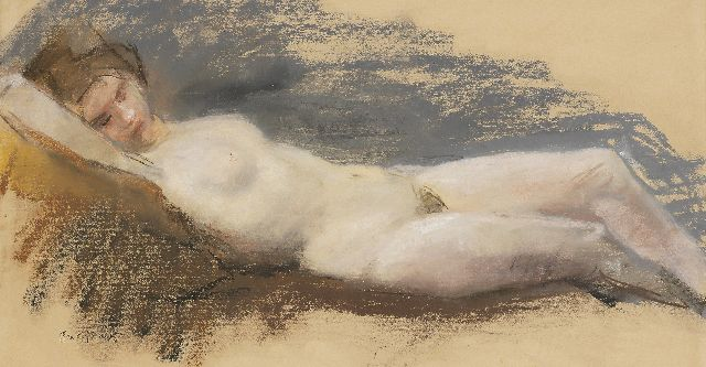 Isaac Israels | Reclining nude, pastel on paper, 34.0 x 63.0 cm, signed l.l.