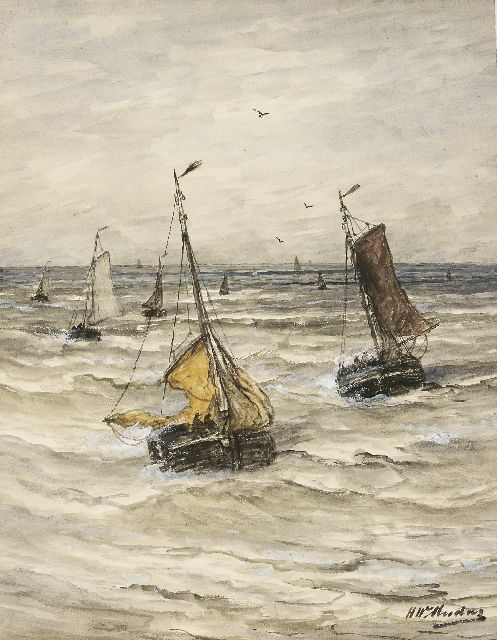 Hendrik Willem Mesdag | Bringing in the catch, watercolour and gouache on paper laid down on paper, 52.8 x 40.4 cm, signed l.r.