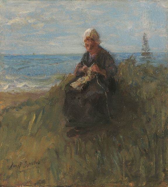 Jozef Israëls | A knitting girl in the dunes, oil on panel, 30.0 x 27.5 cm, signed l.l. and dated ca. 1900