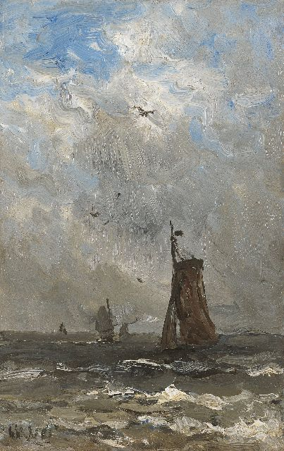 Hendrik Willem Mesdag | Barges at sea, oil on panel, 24.7 x 15.7 cm, signed l.l. with initials