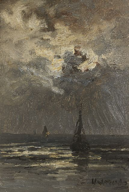Hendrik Willem Mesdag | Fishing boats in a calm by moonlight, oil on panel, 35.0 x 23.5 cm, signed l.r. and painted ca. 1895