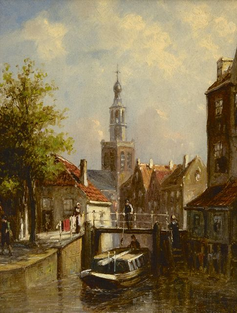 Petrus Gerardus Vertin | A summery town view with the St. Janskerk of Gouda, oil on panel, 19.3 x 15.4 cm, signed l.r.