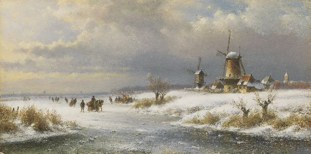 Lodewijk Johannes Kleijn | A winter landscape with skaters and a sledge, oil on panel, 26.6 x 52.8 cm, signed l.l.
