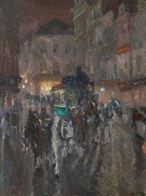 Maurits Niekerk | An omnibus in the city at night, oil on canvas, 115.5 x 85.3 cm, signed l.r. and dated 1919