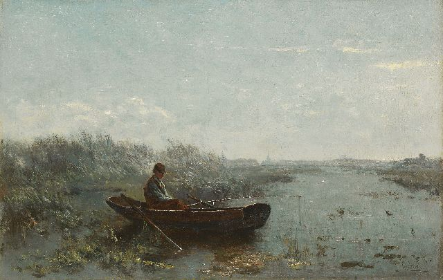 Paul Joseph Constantin Gabriel | Fisherman in the early morning, oil on canvas, 30.2 x 47.0 cm, signed l.r.