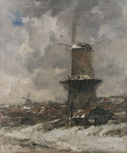 Jacob Maris | A windmill in a winter landscape, oil on canvas, 111.0 x 93.0 cm, signed l.r. and painted 1890