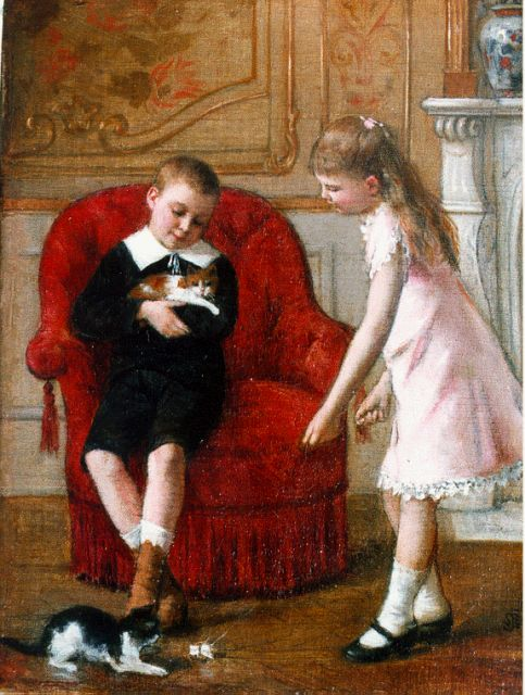 Albert Roosenboom | Playing with the kittens, oil on canvas, 24.2 x 18.4 cm, signed l.r. with monogram and dated '86