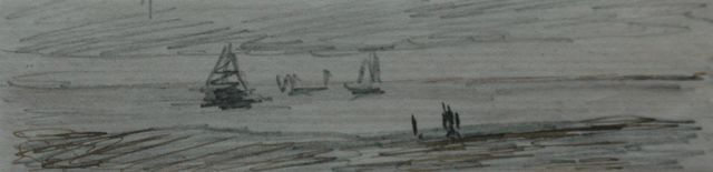 Hendrik Willem Mesdag | Fishing boats on the North Sea, pencil, pen in black ink on paper, 2.5 x 12.3 cm
