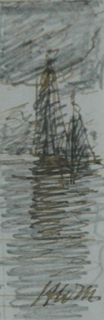 Hendrik Willem Mesdag | Evening mood, pencil, pen in black ink on paper, 7.7 x 2.5 cm, signed l.r. with initials
