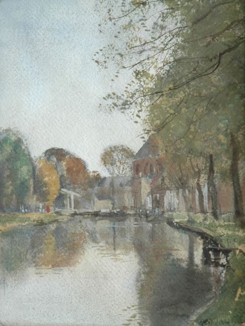 Willem George Frederik Jansen | A canal with a drawbridge, watercolour on paper, 29.1 x 22.8 cm, signed l.r.