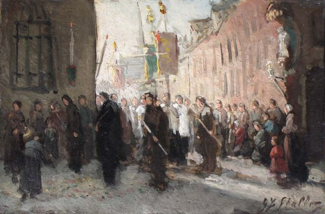 Gerard Johan Staller | A procession with ensign bearers, oil on cardboard laid down on panel, 15.6 x 22.0 cm, signed l.r.
