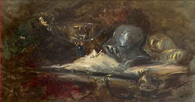 Antoine Vollon | Still life with helmet and sword, oil on panel, 22.3 x 41.8 cm, signed l.l.