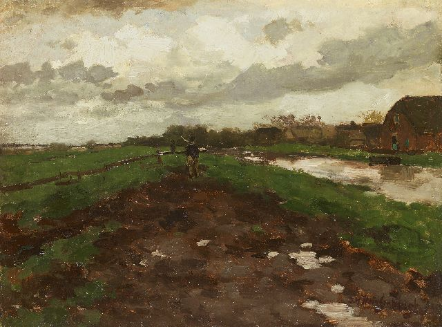 Jan Hendrik Weissenbruch | Homewards after the rain, oil on canvas laid down on panel, 32.9 x 44.1 cm, signed l.r.