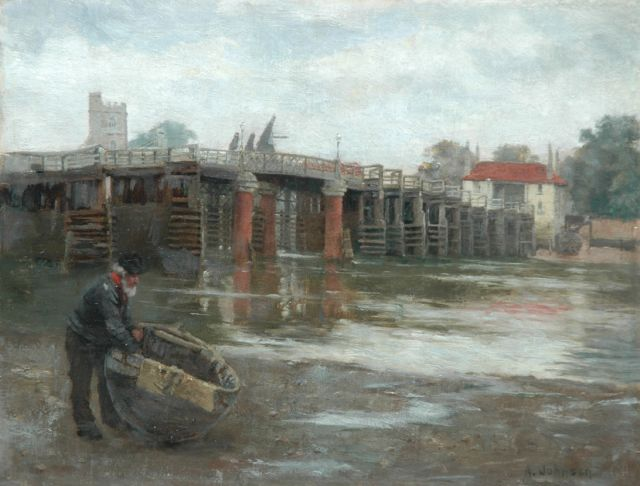 Alfred Johnson | The old bridge, Putney, oil on canvas laid down on panel, 26.4 x 34.3 cm, signed l.r.
