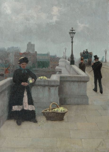 Alfred Johnson | Flower-girl on the Putney Bridge, London, oil on canvas, 45.7 x 33.1 cm, signed l.r. and dated 1887