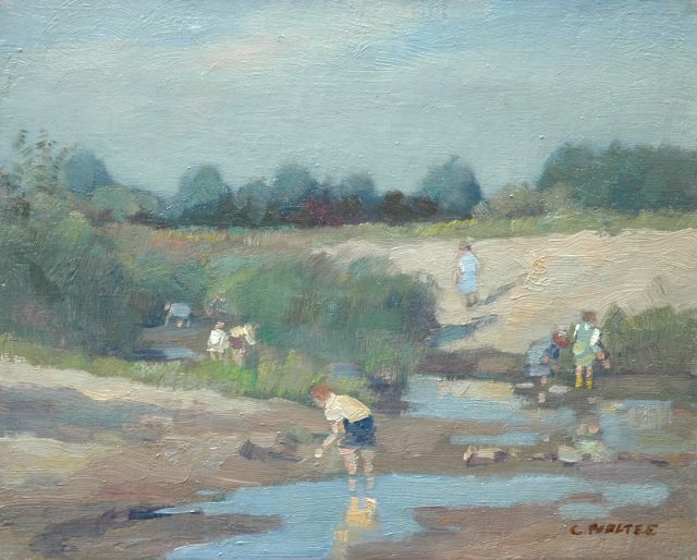 Cor Noltee | Children playing near a pool, oil on canvas, 24.4 x 30.2 cm, signed l.r.