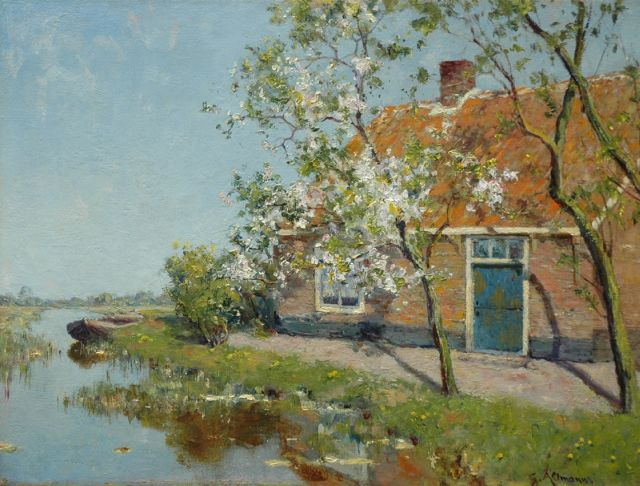 Gerard Altmann | Farm and blossom tree along a canal, oil on canvas, 30.7 x 40.9 cm, signed l.r.
