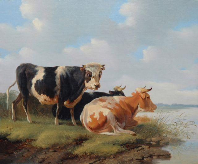 Albertus Verhoesen | A bull and cows near the water, oil on panel, 27.9 x 33.7 cm, signed l.l. and painted 1856
