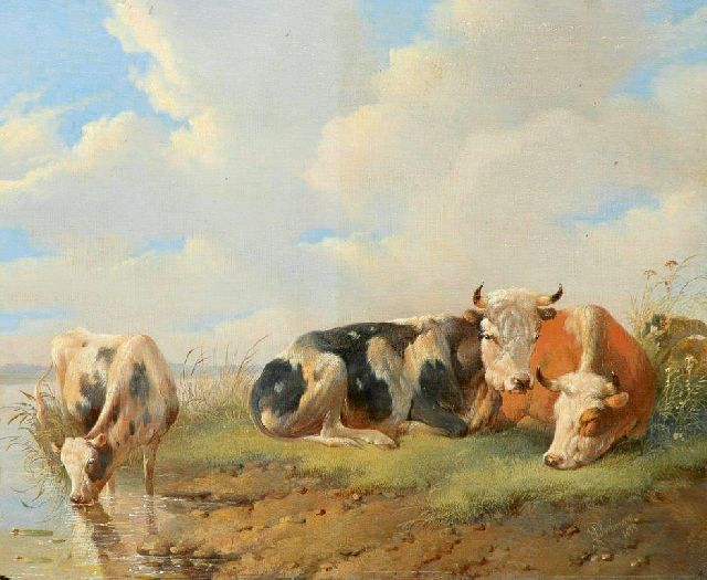 Albertus Verhoesen | Resting and drinking cattle by the waterside, oil on panel, 27.8 x 33.7 cm, signed l.r. and painted 1855