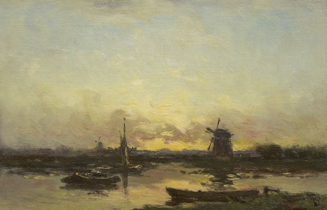 Willem Rip | Windmills and barges at sunset, oil on canvas, 36.9 x 55.5 cm, signed l.r.