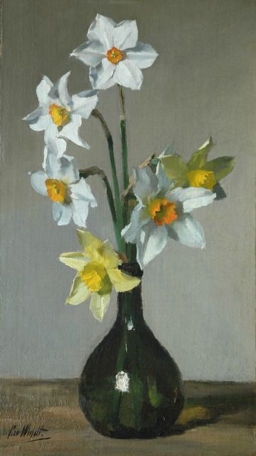 Chris van der Windt | Yellow and white daffodils in a vase, oil on canvas laid down on panel, 41.9 x 24.2 cm, signed l.l.