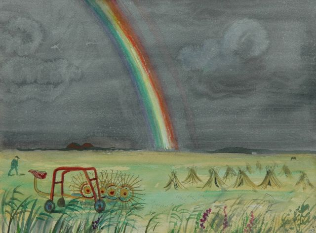 Harm Kamerlingh Onnes | A rainbow on Terschelling, watercolour on paper, 27.8 x 37.6 cm, signed l.r. with monogram and dated '61