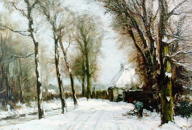 Louis Apol | A country lane in winter (Bezuidenhoutseweg Den Haag), oil on canvas, 27.0 x 39.0 cm, signed l.l.
