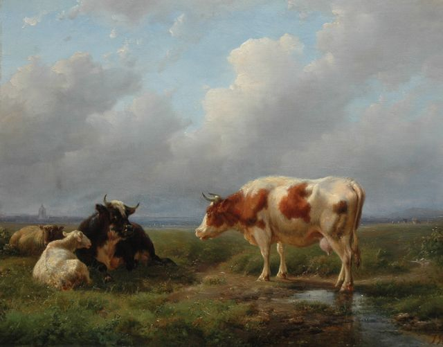 Jan Bedijs Tom | Cattle and sheep in a meadow, oil on panel, 27.6 x 34.8 cm, signed l.r. with initials