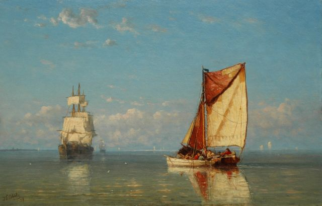 Jan Frederik Schütz | Three-master and fishing boat in a calm, oil on panel, 32.6 x 50.8 cm, signed l.l. and dated '79