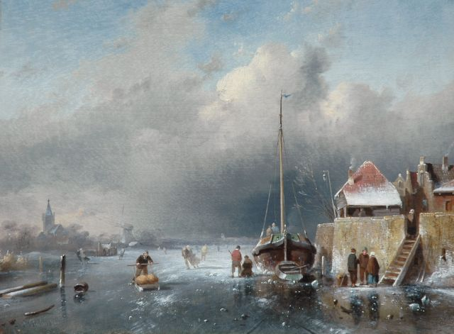 Charles Leickert | Skaters on a Dutch waterway, an approaching blizzard in the distance, oil on panel, 24.2 x 31.2 cm, signed l.l. and dated '64