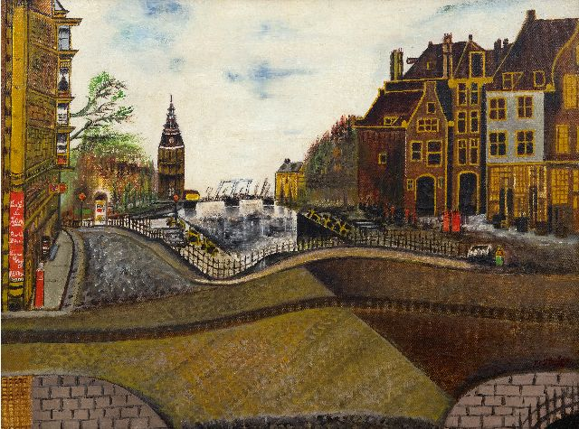 Houtman S.C.  | The Oude Schans, corner St. Antoniebreestraat, with the Montelbaanstoren, Amsterdam, oil on canvas 47.5 x 62.0 cm, signed l.r. and painted 1939