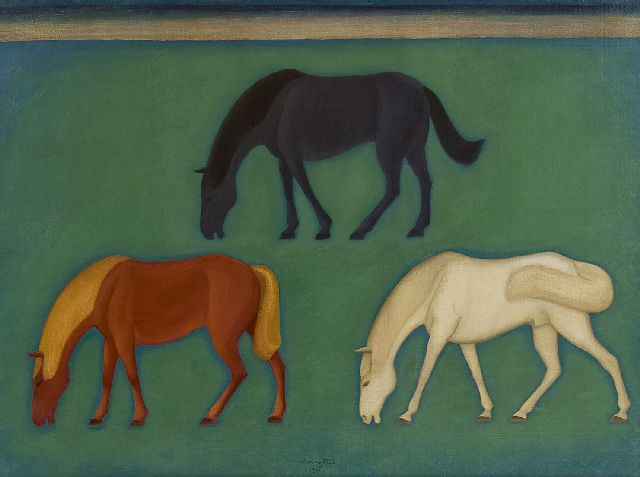 Hell J.G.D. van | Three grazing horses, oil on canvas 60.5 x 80.5 cm, signed l.c. and dated 1926