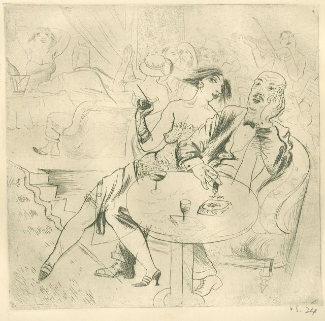 Sychra V.  | Nightclub, etching on paper 19.0 x 19.3 cm, signed l.r. in pencil 'v.s.' and dated 1924