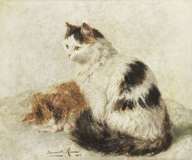 Henriette Ronner-Knip | Two cats, oil on panel, 36.9 x 45.0 cm, signed l.c. and painted 1902