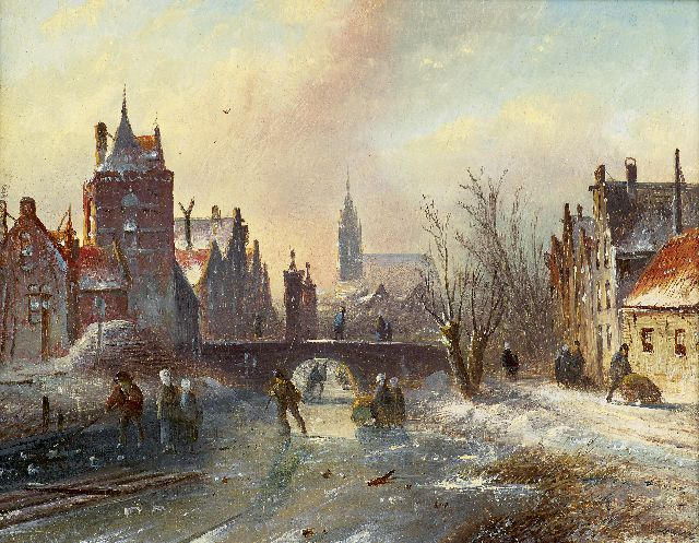 Jacob Jan Coenraad Spohler | Skaters on a canal in winter, oil on panel, 16.0 x 21.0 cm, signed l.r.