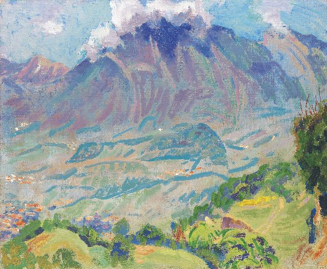 Jan Altink | Mountain landscape in the Haut Savoie, oil on burlap, 50.3 x 60.4 cm
