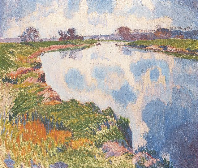 Jan Altink | Early springtime along the Reitdiep, oil on canvas, 60.5 x 70.3 cm, signed l.r. and dated '27