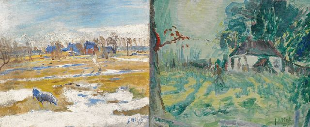 Jan Altink | Winter landscape with farms; verso: farmer on farmyard, oil on canvas, 51.8 x 60.5 cm, signed l.r. and dated '35