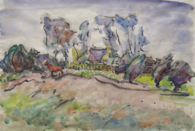 Jan Altink | Horse on a farmyard, black chalk and watercolour on paper, 36.5 x 54.0 cm, signed l.r. and dated '50