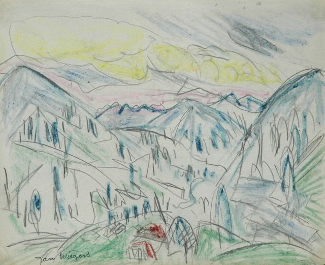 Wiegers J.  | Mountain landscape Davos; verso: sketch of a boy, pencil and grease pencil on paper, 17.5 x 21.7 cm, signed l.l. with stamp