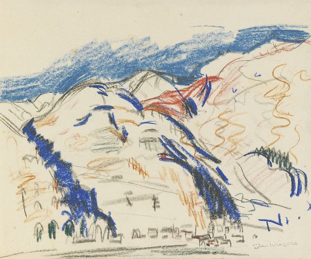 Wiegers J.  | Mountain landscape near Davos, black chalk, coloured pencil and wax crayons on paper, 23.7 x 28.5 cm, signed l.r.