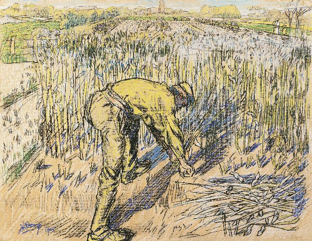 Toorop J.Th.  | Bonensnijder, pencil and coloured chalk on paper, 48.0 x 62.0 cm, signed l.l. and dated 1905