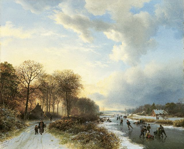 Barend Cornelis Koekkoek | Skaters at sunset, oil on panel, 34.8 x 42.2 cm, signed l.l. and dated 1835